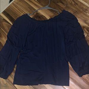 long sleeve navy blue blouse